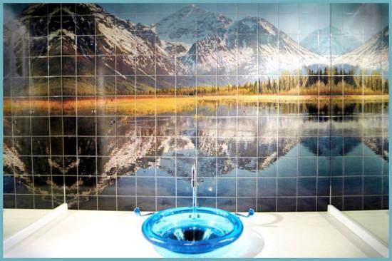 фотопечать в интерьере ванной
