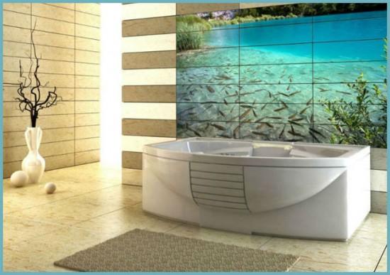 объемный рисунок в ванной