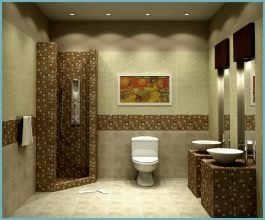 зонирование ванной с помощью плитки
