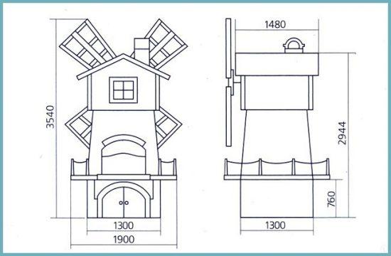 чертеж мельницы