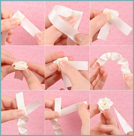 как сделать розочки из атласных лент